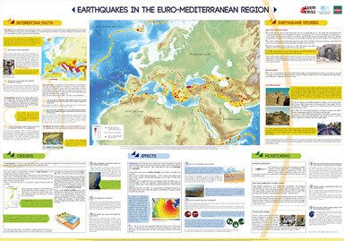 Mediterranean Map - Earthquakes & seismicity - educational poster